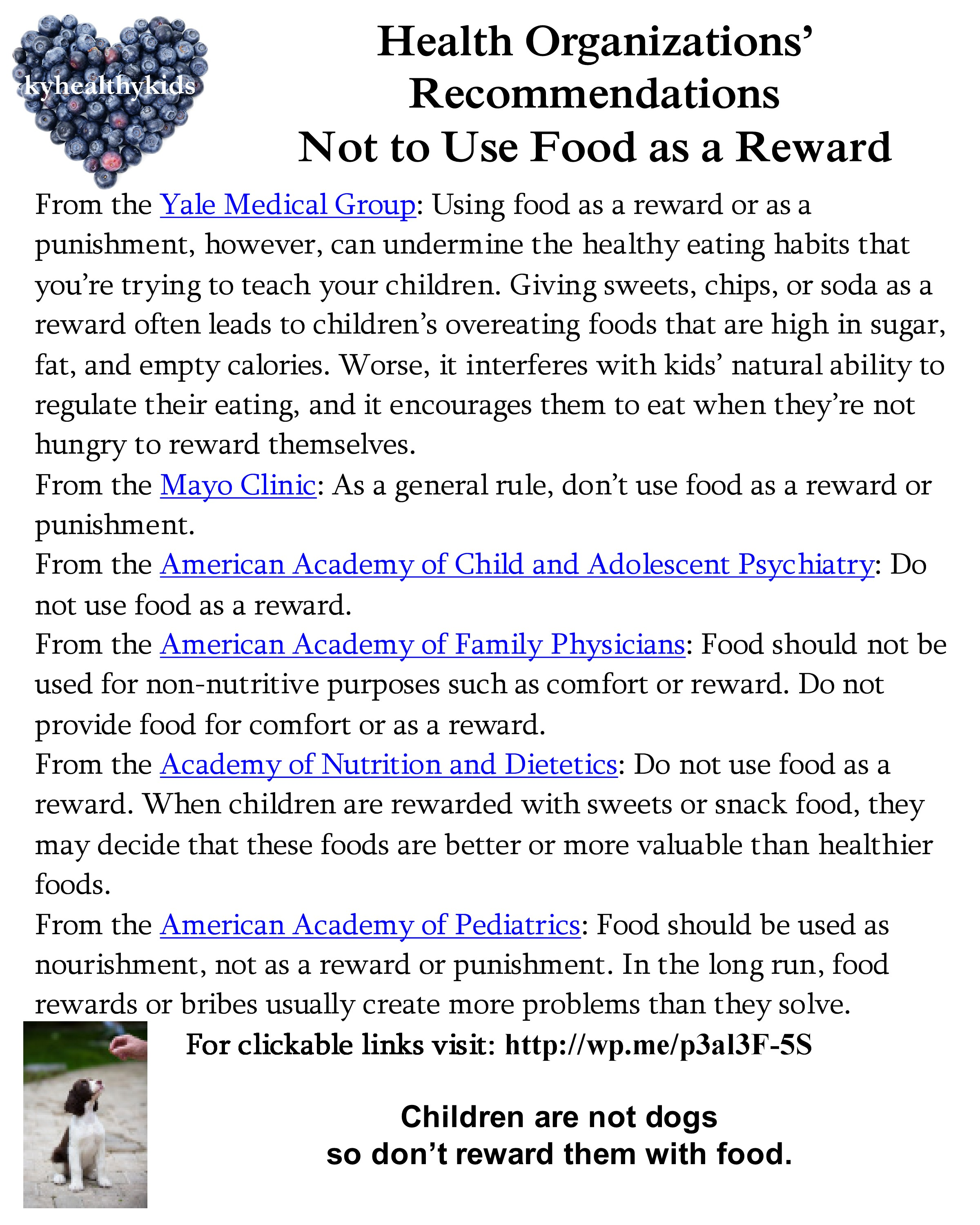 food as rewards and punishments